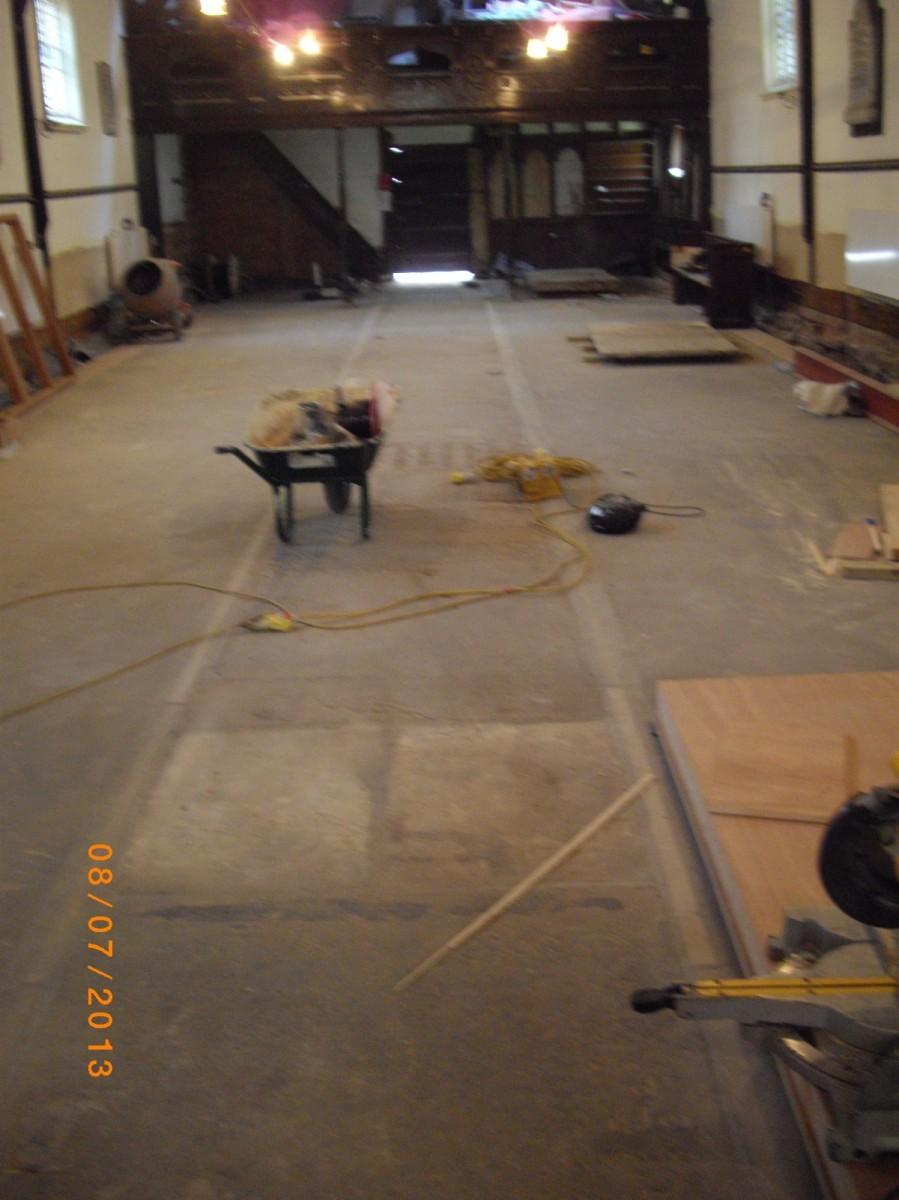 Work is progressing inside Church