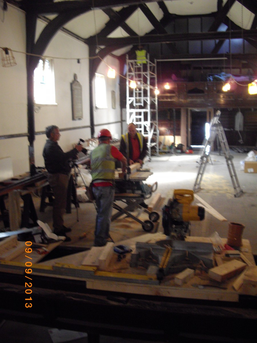 Work continues inside the Church
