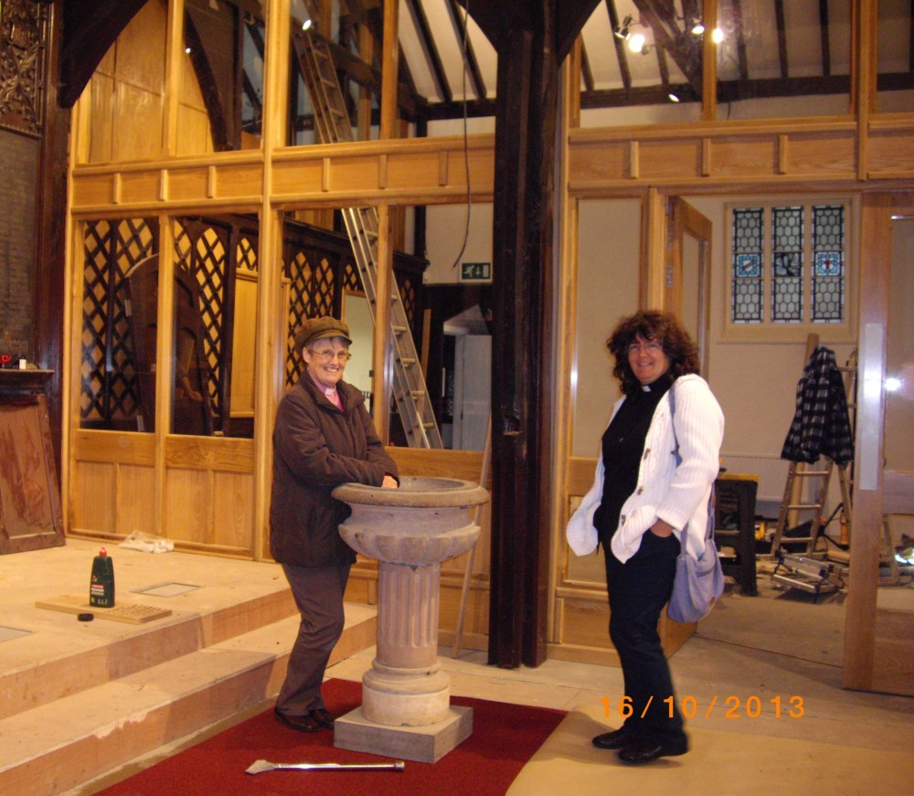 Rev Elizabeth Pope and Rev Katie Reeves at the font