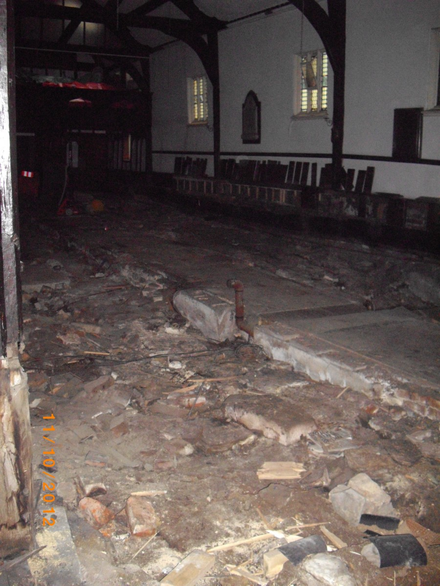 Inside Church following removal work
