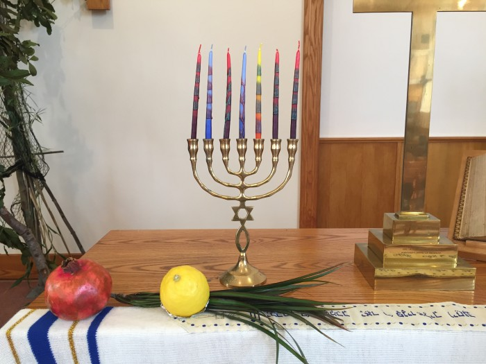 Menorah and symbols of the Festival