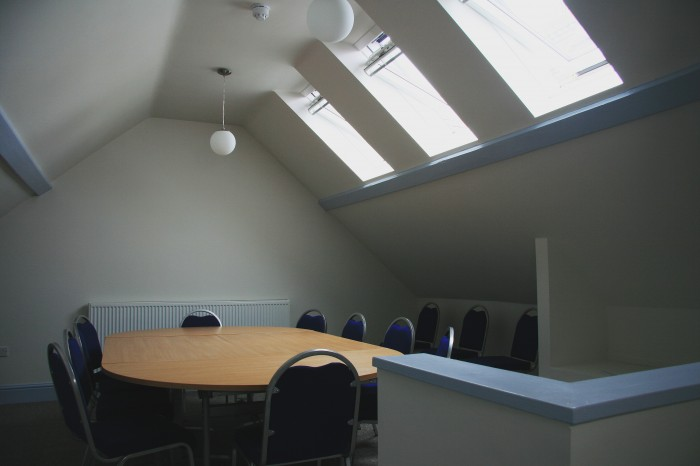 The new Saunders room upstairs for meetings etc.