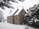 Rear View of Church in Snow