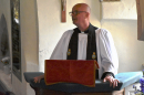 The chaplain gives his sermon
