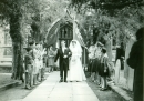 Mike and Pauline Gregory's wedding with guard of honour, 1968
