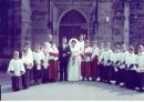Wedding of Joan Watkins to Brian Bowman, 1962 with choirboys