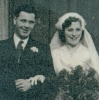 Close up of Bob and Connie's wedding photo, 1953