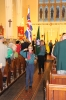 #5 Sedgley Scouts take the Queen's Colours and their own standard from church at the end of the service.