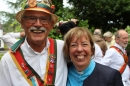A Morris Man with Archdeacon Nikki Groarke.