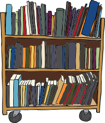 Library Book Cart by SteveLambert - Color drawing of a library book cart, the type used to re-shelve books