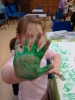 Hand Printing the Indian Flag (Tuni children are our neighbours)