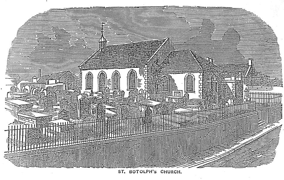 Drawing of St Botolph's Church before the Tower was added