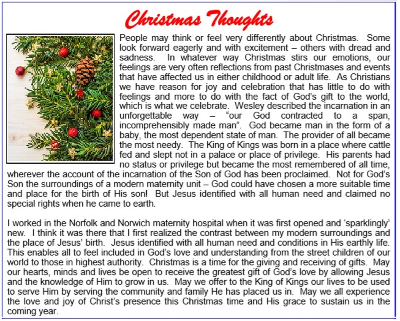 Christmas Thoughts.St Ives Free Church Reflections On Christmas