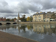 View of River Ouse, Town Bridge and Swan Hotel in Bedford