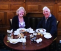 Sharing a seventieth celebration breakfast at Harrogate, Yorkshire