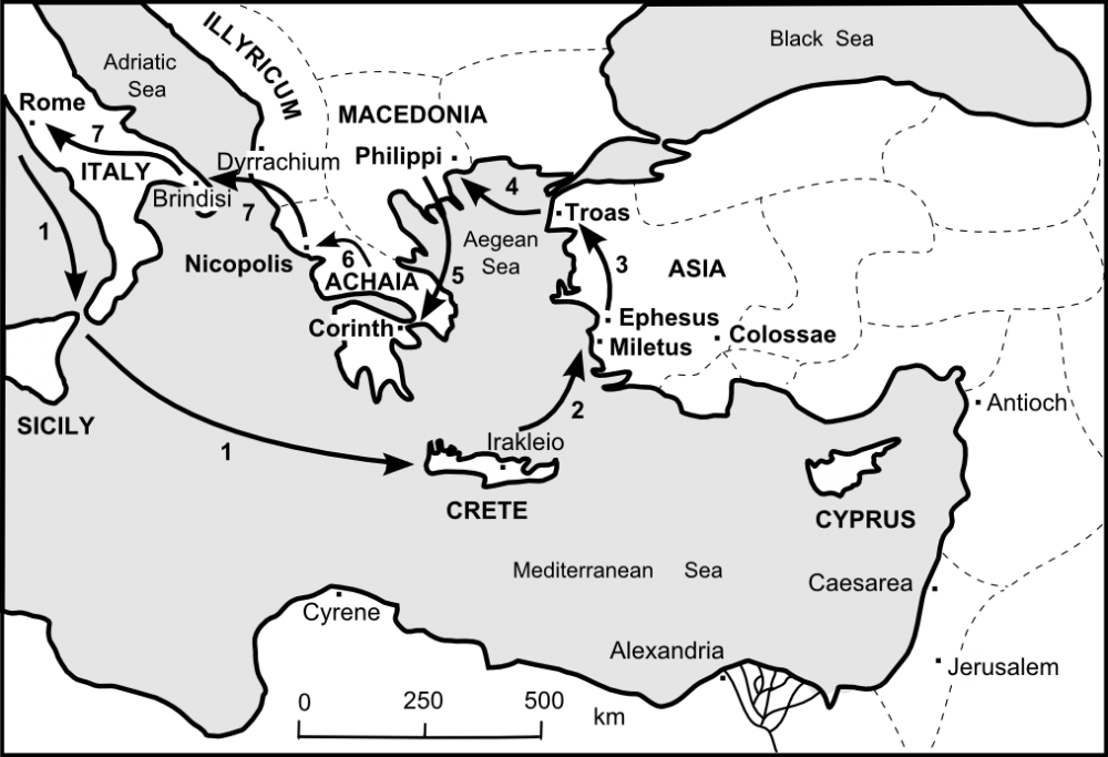 Map of Paul's 4th Missionary Journey