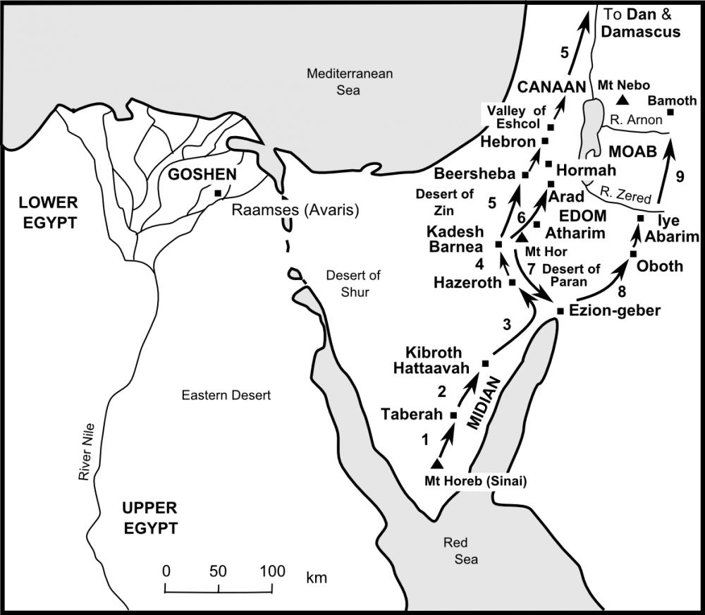 Map of the journey from Sinai to Moab