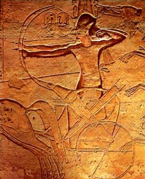 Ramses II at Kadesh - relief at Abu Simbel (Public Domain)