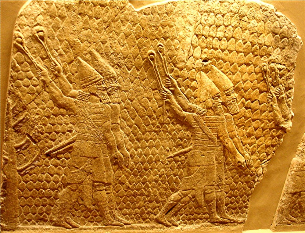 Assyrian slingers in action at the Seige of Lachish