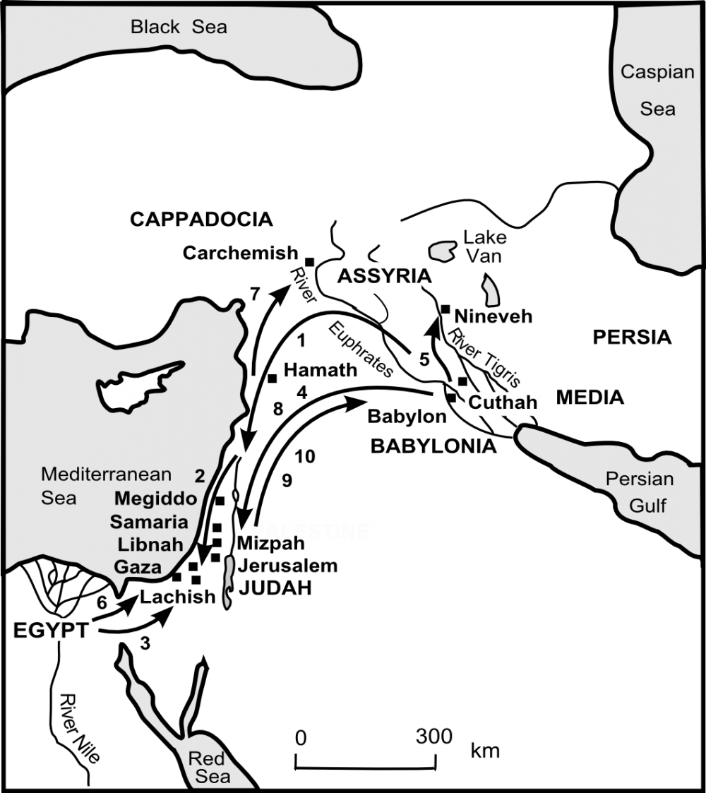 Map of Judah's journey towards exile