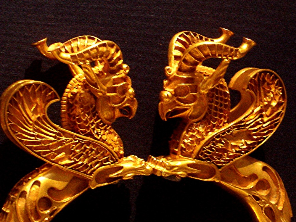Gold bracelet with horned & winged griffins (British Museum)