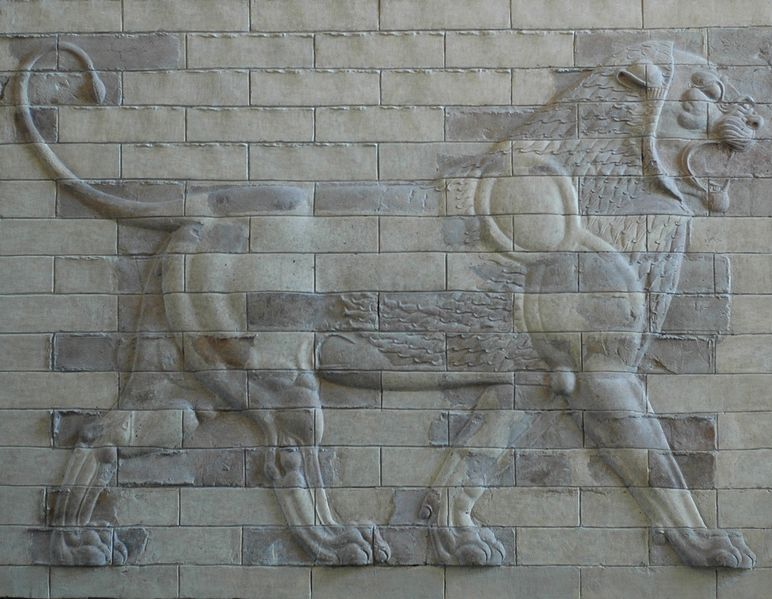Lion on a decorative panel from Darius I's Palace at Susa (Louvre Mueum, Paris) (Jastrow)
