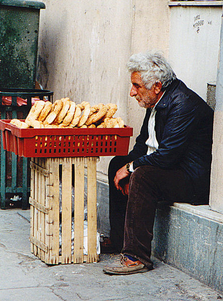 Old man with baked breads - Greece (Peter van der Sluijs)