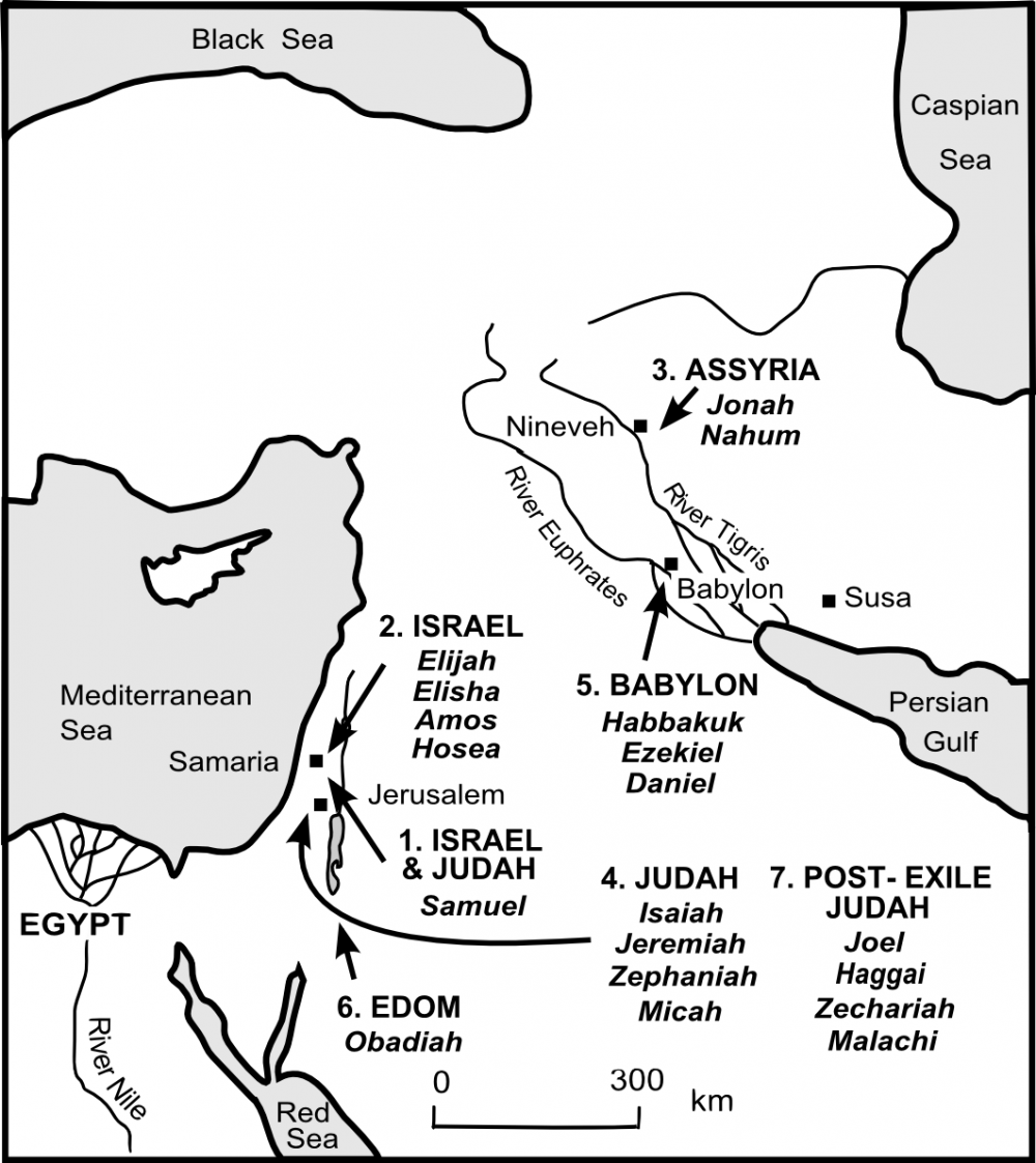 Map showing the World of the Old Testament Prophets