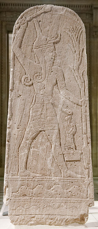 Stele of Baal with a thunderbolt in the Louvre found at Ugarit (Marie-Lan Nguyen)