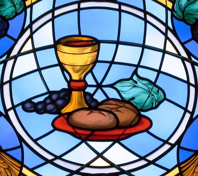 Bread & wine on a stained glass window at St Michael the Archangel, Findlay, Ohio, US (Nheyob)