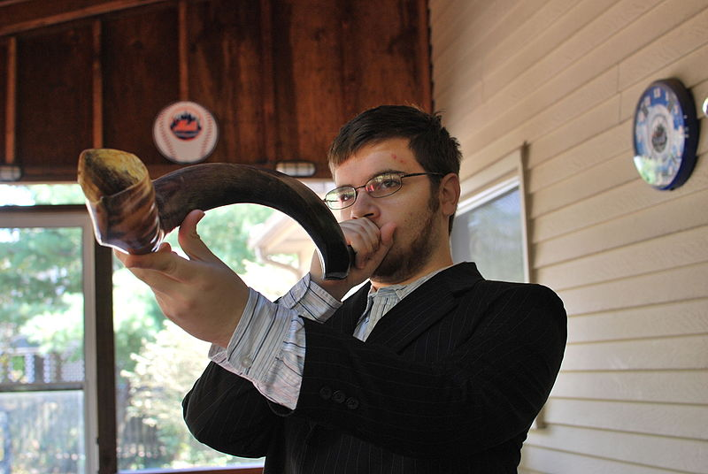 Shofar - Blowing the Shofar on Rosh Hashanah (slgckgc)
