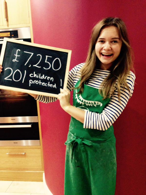 Martha Collison baking for 21hrs to protect children from trafficking (Tearfund)