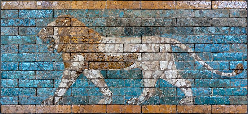 Pacing lion from the Ishtar Gate, Babylon (Jastrow)
