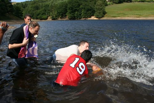 Open air baptism by total immersion (submersion) conducted by the Jesus Army