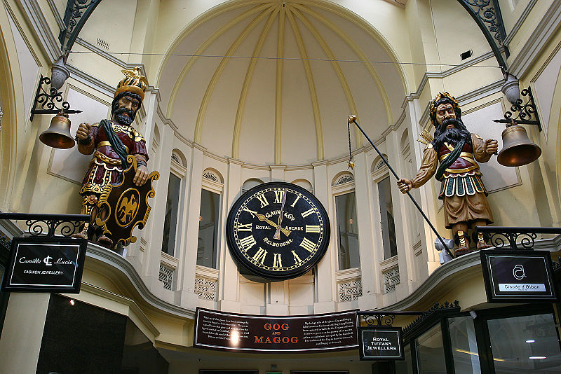 Gog & Magog statues in the Royal Arcade, Melbourne (John O'Neill)