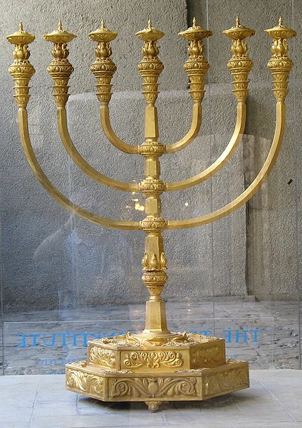 Replica of the Temple menorah by The Temple Institute, Jerusalem