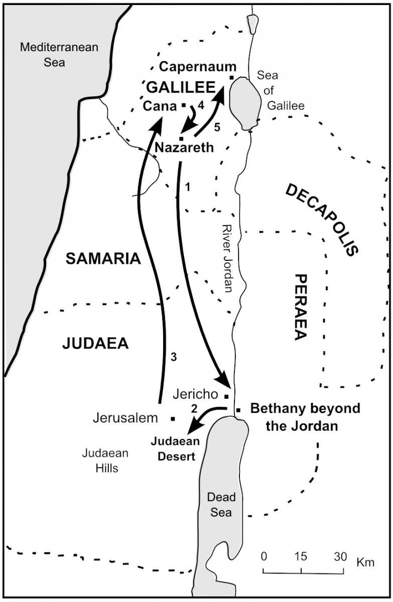 Map of Jesus starts his work