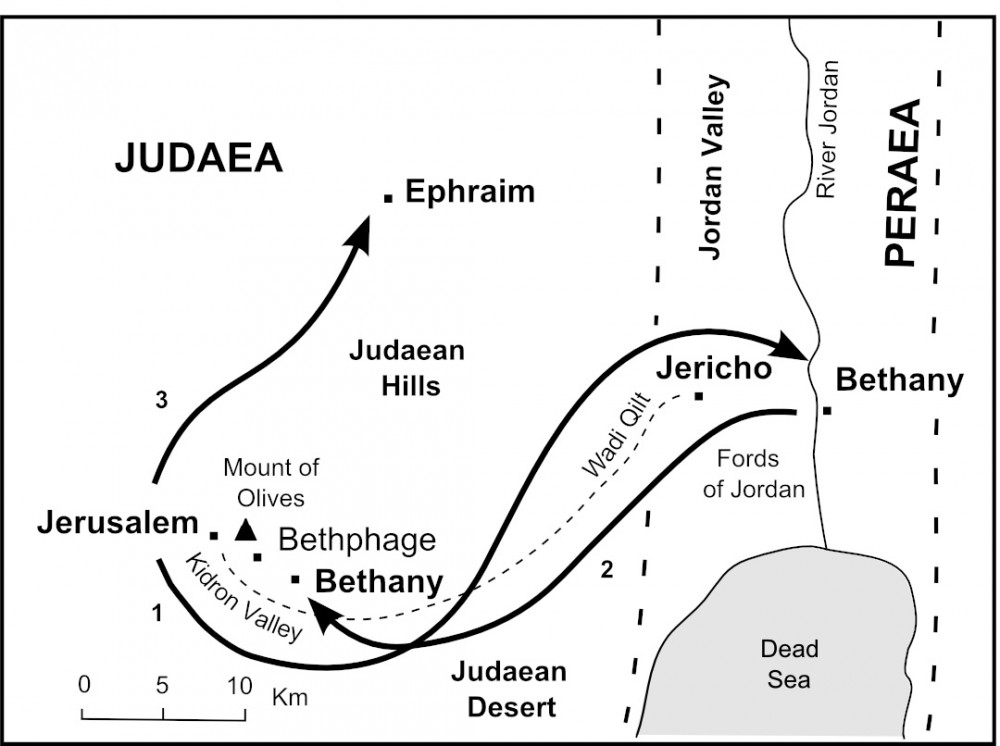 Map of Journeys near Jerusalem