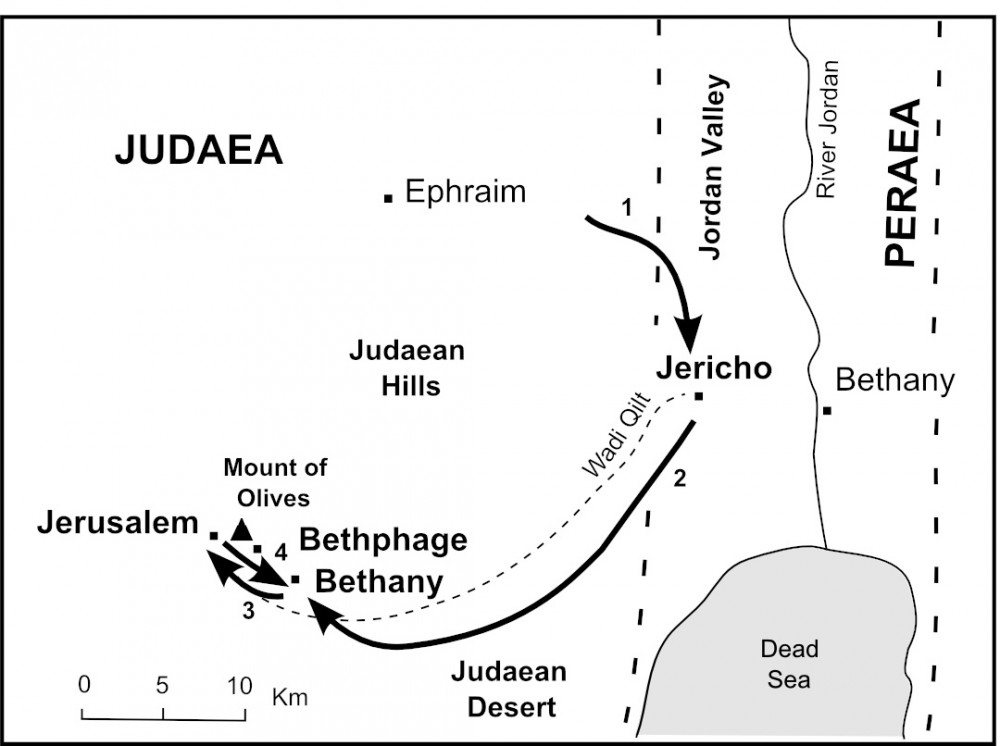 Map of Jesus' Final Journey to Jerusalem