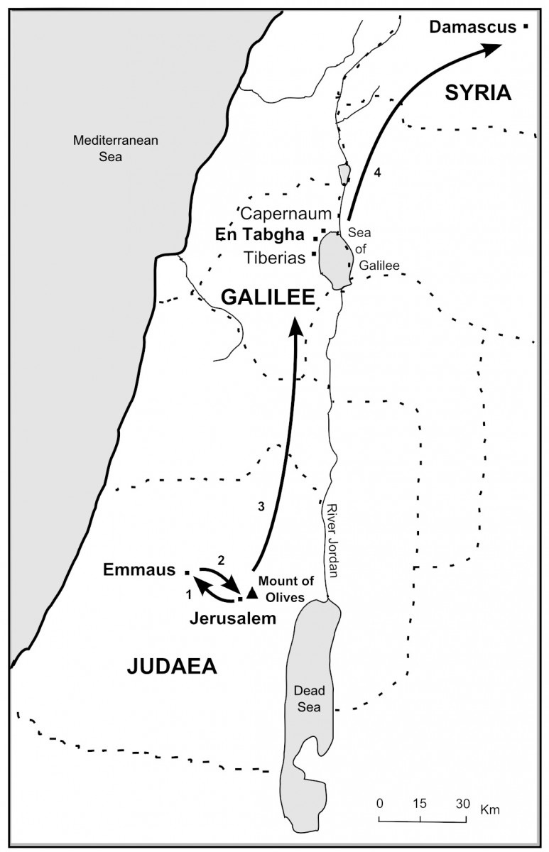 Map showing the resurrection appearances
