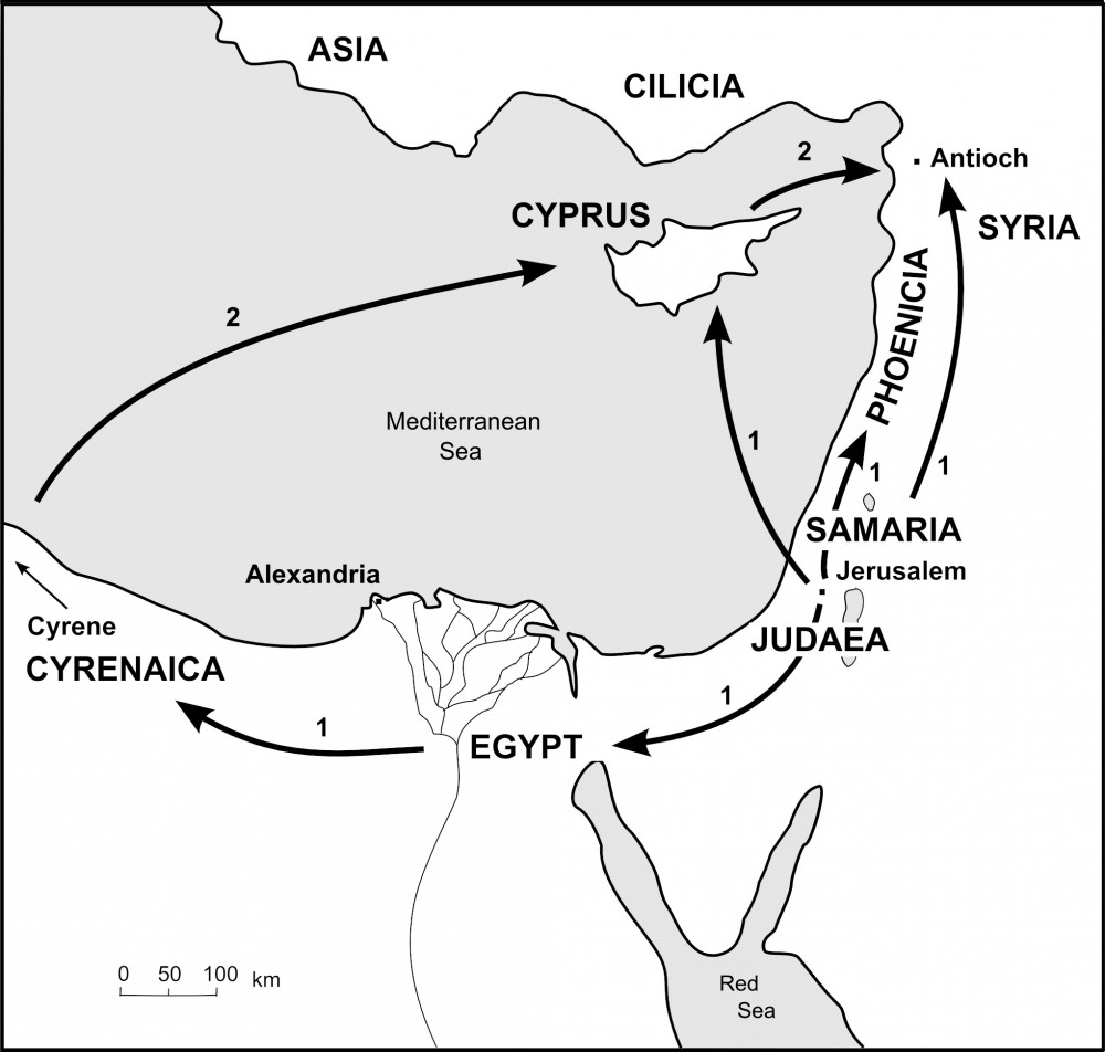 Map showing believers scattered
