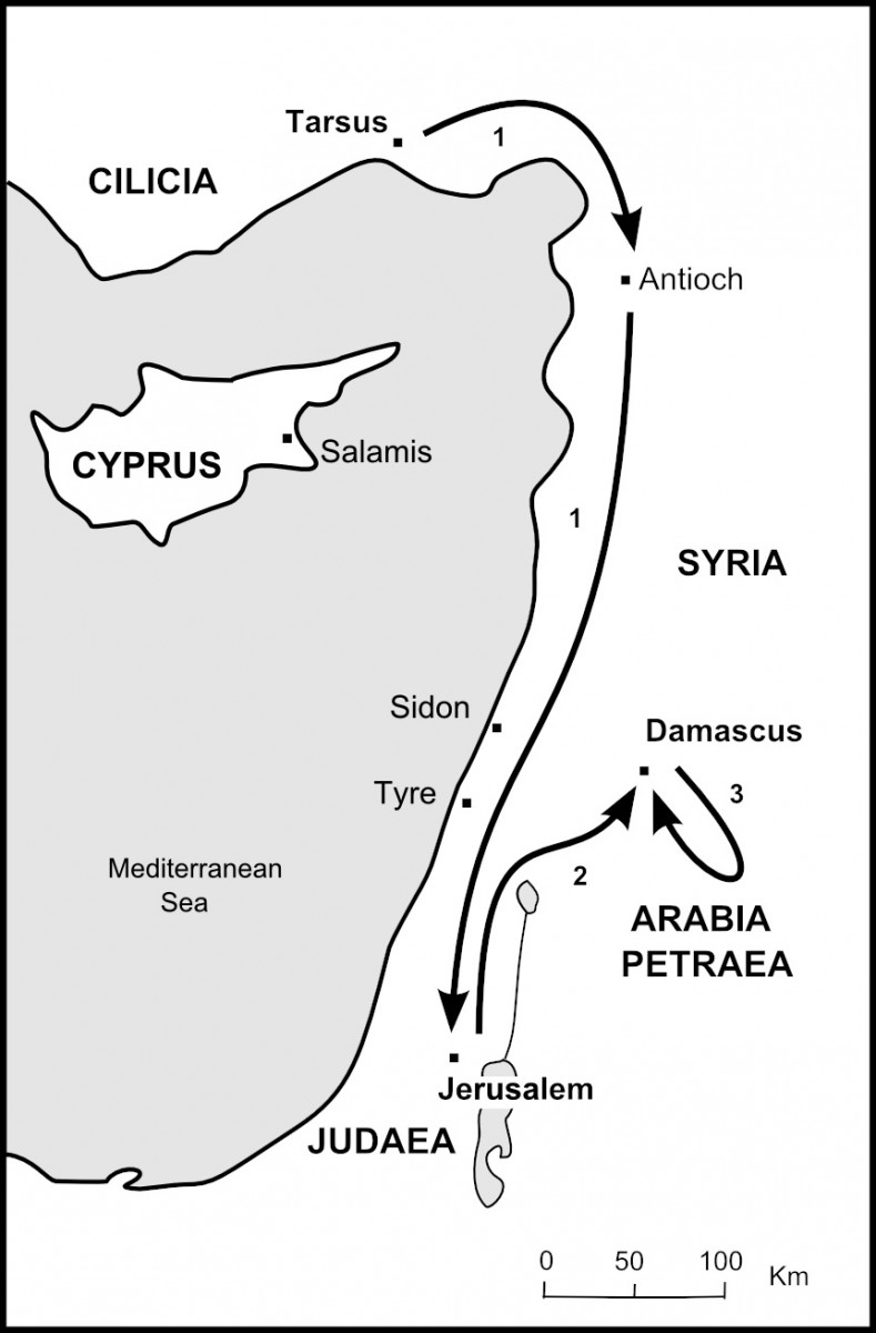 Map of Paul's Early Journeys