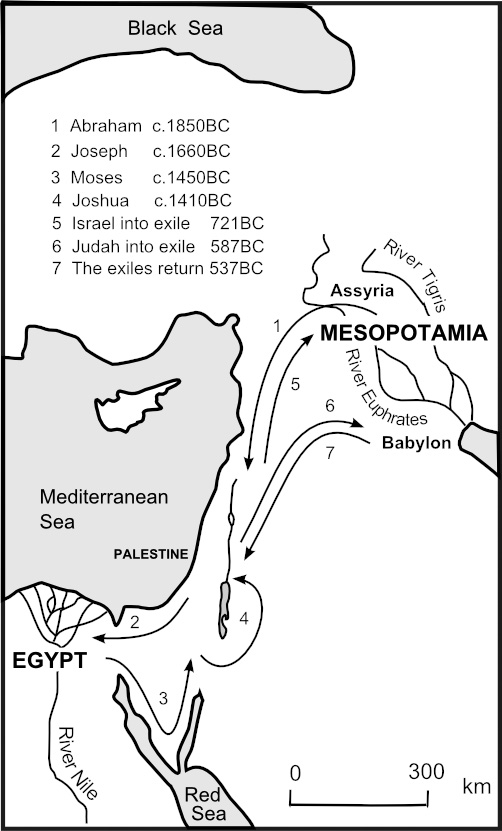 Map showing an Overview of Old Testament Journeys