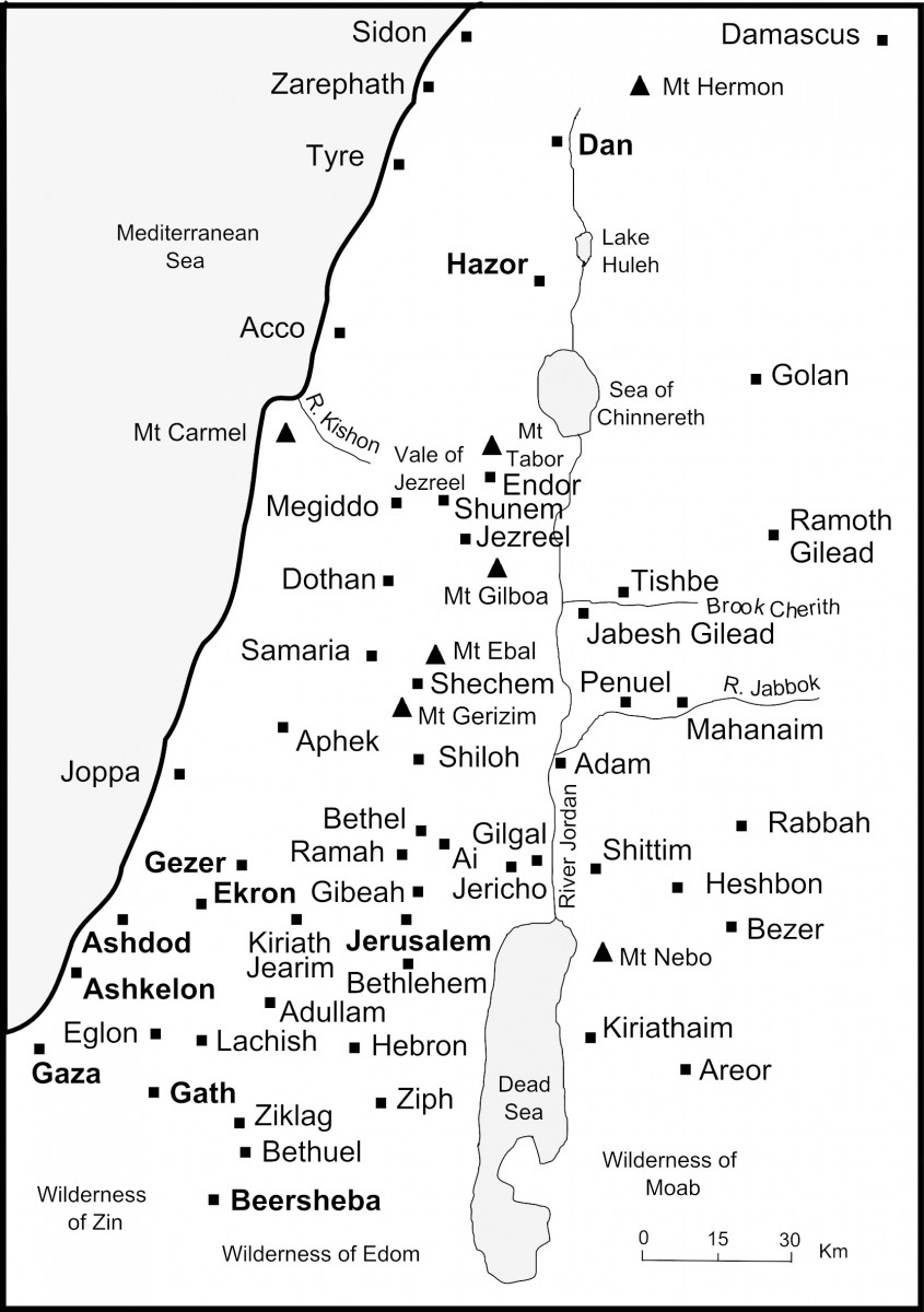 Map of Old Testament Israel