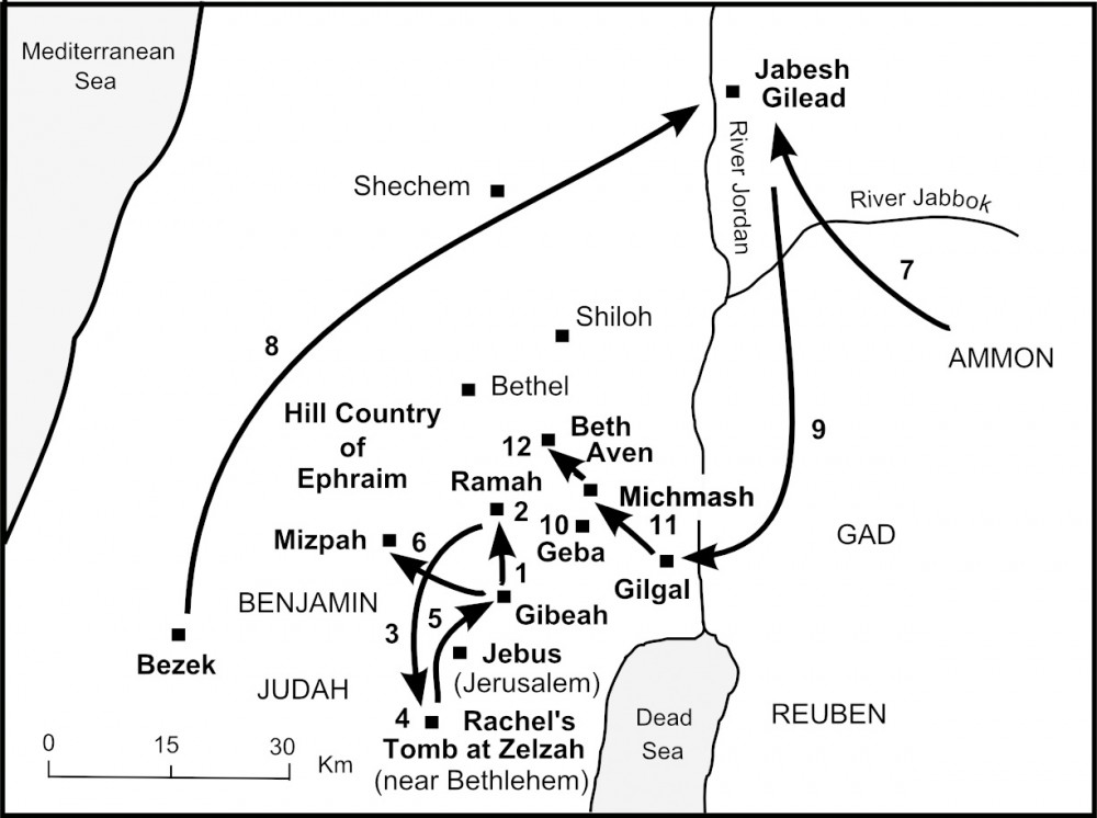 Map of Saul's Journey to Kingship