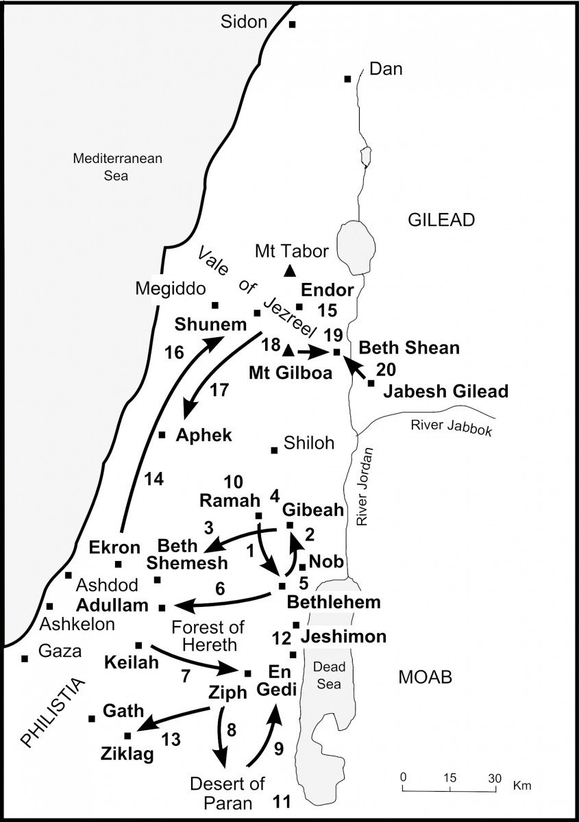 Map - David rivals Saul