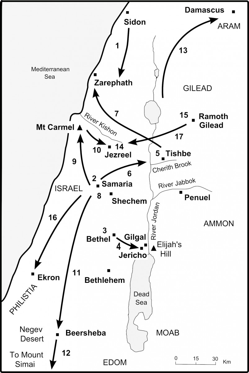 Map of Elijah's Journeys