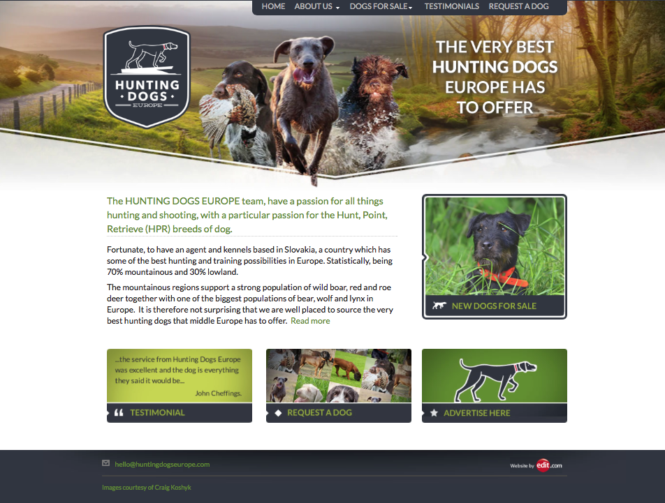 Image and link to Hunting Dogs Europe Website
