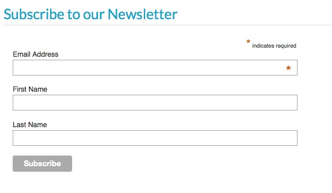 Image of newsletter sign up form
