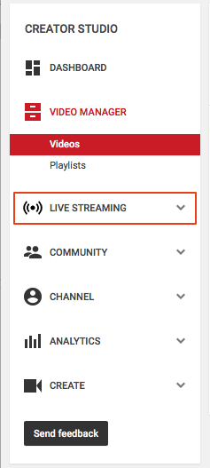 Image of menu in YouTube